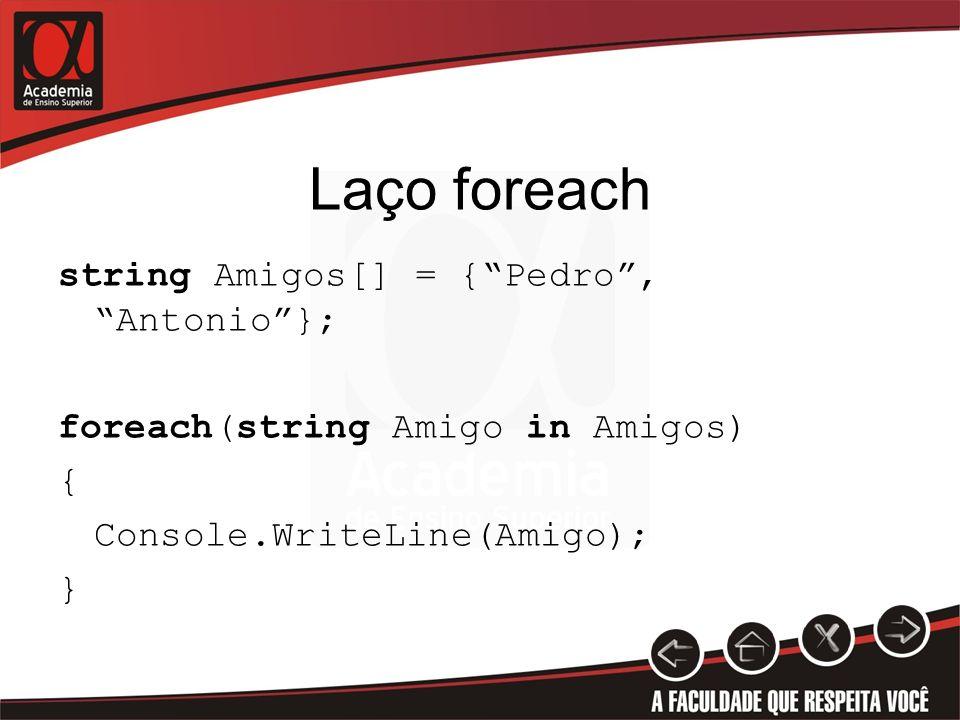 Laço foreach string Amigos[] = { Pedro , Antonio }; foreach(string Amigo in Amigos) { Console.WriteLine(Amigo); }
